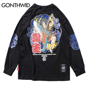 GONTHWID Japanese Warriors Printed Long Sleeve Thin Pullover Hoodies Sweatshirt Mens 2018 Japan Style Casual Hip Hop Streetwear