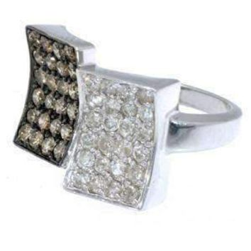 1.50 Carat Chocolate & White Diamond 14K White Gold Right Hand Ring