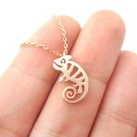 Adorable Chameleon Shaped Cut Out Charm Necklace in Rose Gold | Animal Jewelry