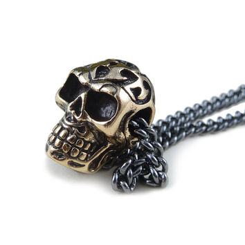 "Skull Necklace Small Day of the Dead Skull Pendant on 24"" Gunmetal Chain"