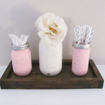 Mason Jars Party Decor, Shabby Chic, Distressed Painted Jars, Set of 3 Jars, Rustic Decor, Party CenterPiece, Country Decor, Farmhouse Set