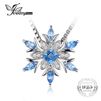 JewelryPalace Snowflake Natural Blue Topaz 925 Sterling Silver Pendant Necklace 45cm Box Chain Fashion Fine Jewelry For Women