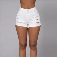 2016 fashion sexy hot summer women ladies vintage ripped denim white short jeans high waisted shorts hotpants vaqueros mujer