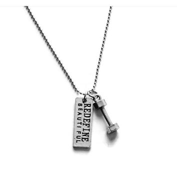"""Redefine Beautiful"" Dumbbell Necklace"