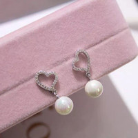 Lovely love heart and pearl 925 Sterling Silver zircon earrings , perfect gift