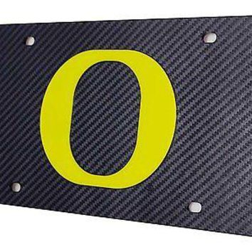 Oregon Ducks CARBON FIBER Deluxe Laser Inlaid License Plate Tag University of