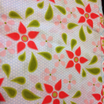 Marabella by Henry Glass Melon Pink and Blue Flowers Quilting Cotton Fabric 1/2 Yard