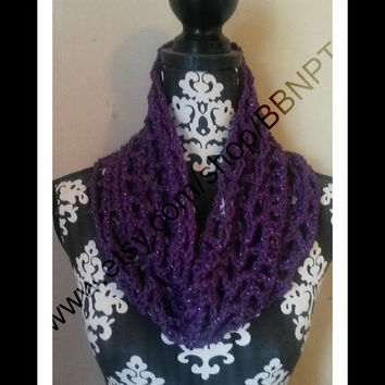 Purple Sparkle Open Weave Infinity Scarf (Violet, Cowl, Loop, open, lightweight, fashion)