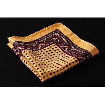 Yellow Burgundy Polka Dot 100% Natural Silk Pocket Square