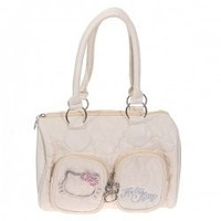 Neoteric Kitty Rhinestone Inlaid with Two Small Pouches Soft PU Leather Zippered Handbag Shoulder Bag for Lady (Off-white) China Wholesale - Everbuying.com
