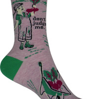 Don't Judge Me Crew Socks in Pink and Green
