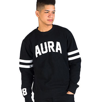 FLAT BACK 88 LS CREW NECK SWEATSHIRT - Black - AURA GOLD
