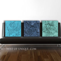 Large concrete wall art / ORIGINAL 3 panel (15-Inch x 15-inch)/ Abstract mineral art/  Modern Abstract painting / Green, blue. Green-blue