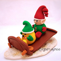 Santa's Elf Parker StoryBook Scene - Twelve Days of Christmas Polymer Clay Figurine