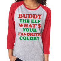 Grey Buddy The Elf Christmas 3/4 Sleeve Baseball Tee