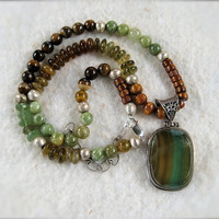 Large Fluorite and Sterling Pendant Necklace with Garnets, Petrified Wood, Gold Coral and African Silver Ombre Gemstone Jewelry