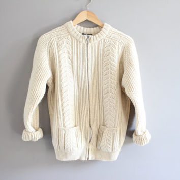 England  ivory cream fishermen's zipper chunk cable knit cardigan zip up cardigan UK wool cardigan 100%  wool small to medium