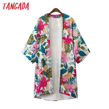 Tangada Women Floral Print Kimono Long Jackets Three Quarter Sleeve Long Sleeve Jacket Coat Boho Fashion Brand Mujer Coats XD85