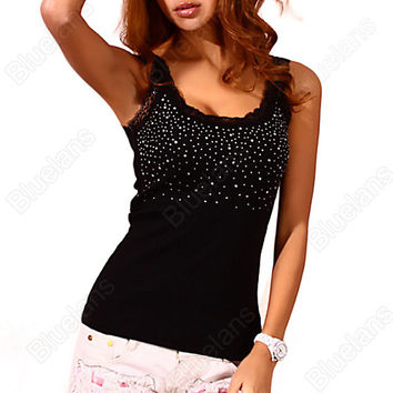 Blouse Rhinestone Lace Studded Sleeveless Vest Tank Top Black White one size fits all