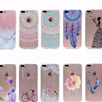 Transparent TPU Cover For iPhone 7 Plus Case Fashion Tower bike Butterfly Girl Feather Design Mobile Phone Cases