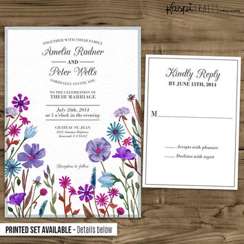 Watercolor invitation, rustic wedding, printable wedding invitation, printed invitation, customize with your wedding colors