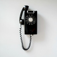 Vintage black rotary phone; rotary dial wall mount telephone; tested and working