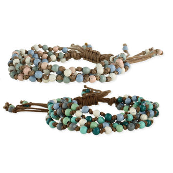 Cord and Muted Bead Pull Bracelet