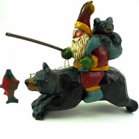 Vintage House of Hatten Folk Art Santa Rides Bear with Cub in Tow Santa's  Kingdom Collection Carver Susan H. Smith Rustic Ornament