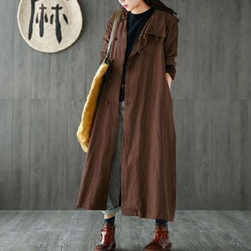 ZANZEA Fashion Casual Female Solid Lapel Button Long Sleeve Baggy Coat Retro Leisure Women Cotton Linen Long Maxi Jackets Kaftan