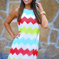 Chevron Circus Dress: White/Multi | Hope's