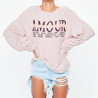 Missguided - Pink Amour Graphic Brushed Sweathsirt