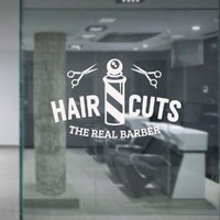 Wall Decal Vinyl Sticker Art Decor Hairdressing Hair Salon Style Beauty Barber Shop Cuts Beard Inscription Shaver Scissors Signboard M1497)