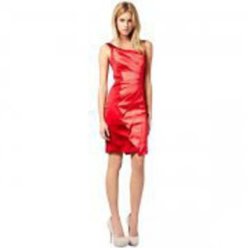Dignature Stretch Satin Dress Red