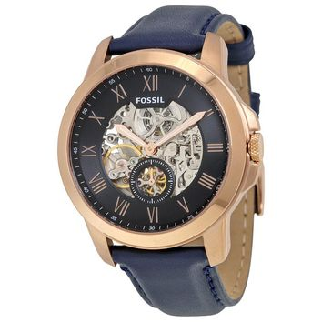 Fossil Grant Automatic Blue Skeletal Mens Watch ME3054