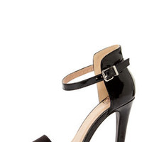My Delicious Stick Black Patent and Suede High Rise High Heels