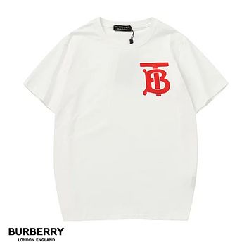 Burberry New fashion letter print couple top t-shirt White