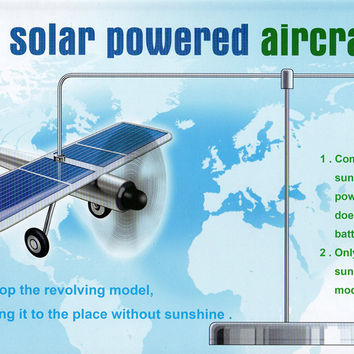 Car ornaments Solar airplane model aircraft Solar Energe Education kit Demonstrate Kit New idea gyropter rotation