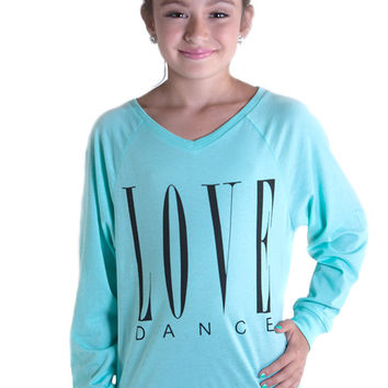 "Heartless Romantics ""LOVE DANCE"" Raglan, Teal"