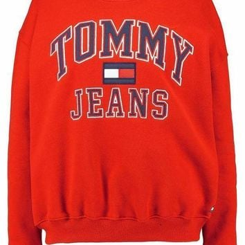 Tommy Hilfiger Fashion Casual Long Sleeve Sport Top Sweater Pullover Sweatshirt Red I