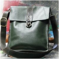 Leather Steampunk Messenger Bag for Men and Women - Green and Brown