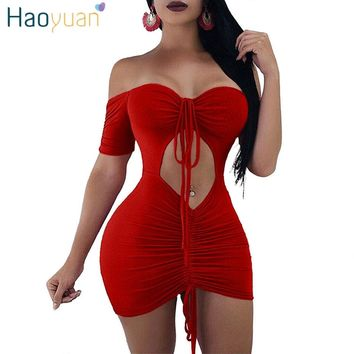 HAOYUAN Off Shoulder Strapless Sexy Dress Club Short Sleeve Mini Boho Beach Party Dresses Women Hollow Out Bodycon Bandage Dress