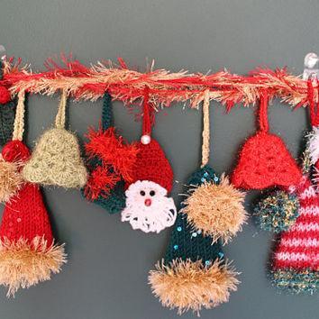 Christmas Garland 8 Crochet Ornaments Set Crochet Santa Ornament READy To SHIP