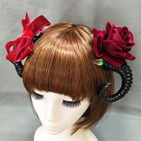 Gothic Lolita Devil Horns Headwear Bowknot Rose Hairpin Bow Claw Steampunk Hair Clips Halloween Hair Accessories