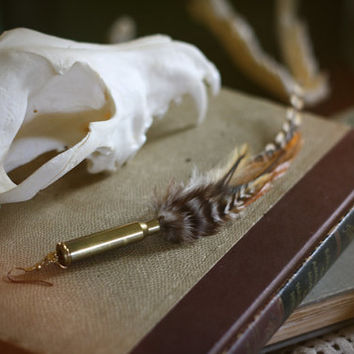 antithesis // bullet casing & feather earring