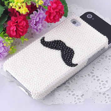 Cute Pearl black crystals mustache iPhone Case, mustache iphone 4 case, iphone 4s case, cute iphone 5 case, custom cell phone cover