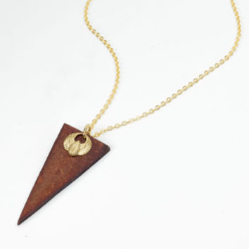 Winged scarab necklace by See Rue. handmade wood pendant. Brass scarab Pendant. 24k gold plated chain (anti tarnish)