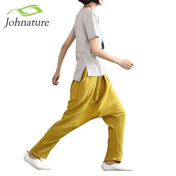 Johnature 2017 Spring Women Solid Harem Pants Loose thickness Vintage Cotton Linen Plus Size Comfortabe Female Pants