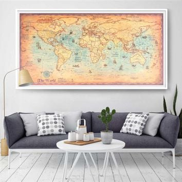 Large size World Map Vintage Poster Retro Wall art Ocean World earth maps canvas or krafts paper print picture for bar cafe home