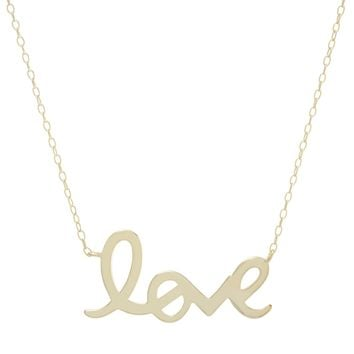 "Gold Over Sterling Silver Cursive ""LOVE ""Necklace"