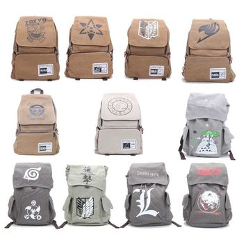 Cool Attack on Titan 11pcs/lot  Backpack Japan Anime Naturo Totoro Tokyo Ghoul Death Note Printing School Bag Teenagers Travel gift AT_90_11